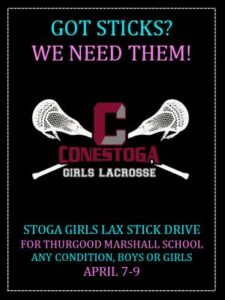 Stoga Girls Lax Stick Drive April 6-9, 2015
