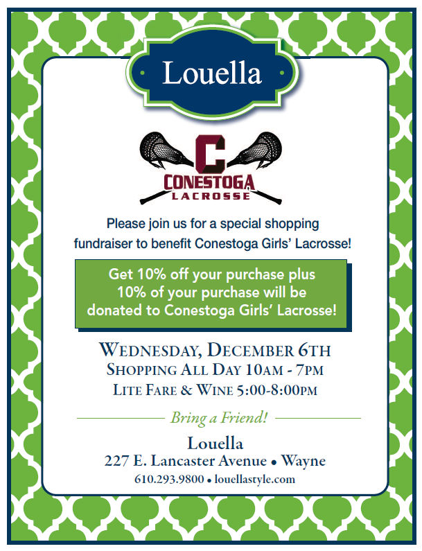 Save the Date! Stoga Girls Lax Shopping Night at Louella!
